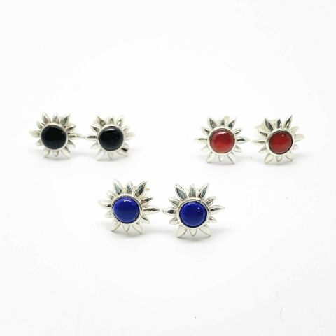 Genuine 925 Sterling Silver Sun Style Stud Set with Real Semi Precious Stone